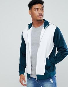 Бело-зеленая спортивная куртка в стиле ретро ASOS DESIGN - Зеленый