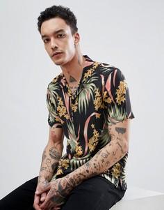 Рубашка с короткими рукавами и тропическим принтом AllSaints - Черный