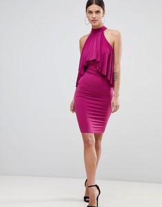 Платье с американской проймой и оборкой Forever Unique - Розовый