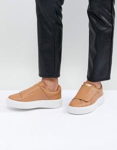 Светло-коричневые кроссовки на платформе Puma - Рыжий