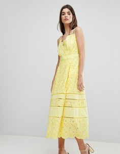 Кружевное платье миди Three Floor - Желтый