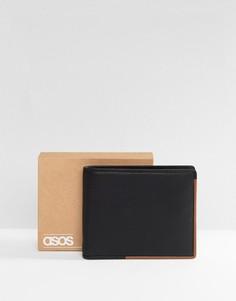 Черный кожаный бумажник со светло-коричневой подкладкой ASOS - Черный