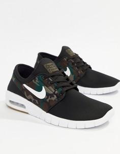 Кроссовки с камуфляжным принтом Nike SB Stefan Janoski Max 631303-021 - Черный