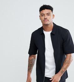 Креповая рубашка на молнии с короткими рукавами Just Junkies - Черный