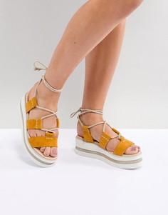 Замшевые туфли на платформе с завязками ASOS DESIGN - Желтый