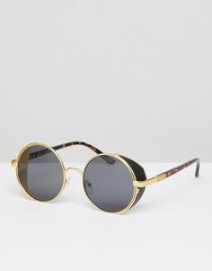 Золотистые круглые солнцезащитные очки с козырьками по бокам ASOS DESIGN - Золотой