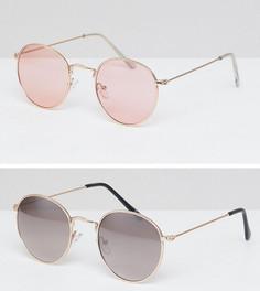 Набор из 2 пар круглых солнцезащитных очков (в золотистой / золотисто-розовой металлической оправе) ASOS - СКИДКА - Золотой