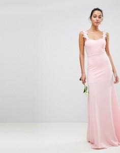 Платье-бандо макси с кружевом и вышивкой Club L - Розовый