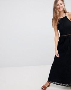 Полупрозрачное кружевное платье макси Hollister - Черный