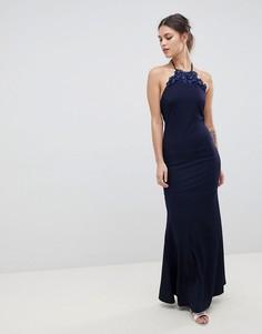 Платье макси с завязкой на шее и цветочной отделкой City Goddess - Темно-синий