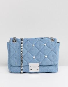 Джинсовая сумка с отделкой искусственным жемчугом Carvela - Синий