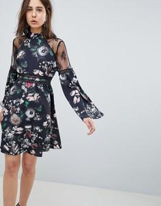Короткое приталенное платье с цветочным принтом и кружевной отделкой Neon Rose - Черный