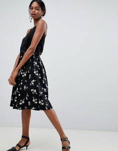 Юбка для выпускного с плиссировкой и цветочным принтом Liquorish - Черный