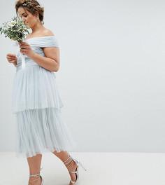Платье миди с ярусной юбкой Maya Plus - Синий