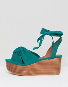 Замшевые премиум-туфли на плоской платформе ASOS DESIGN Trinity - Зеленый
