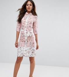 Платье-рубашка миди с поясом и цветочным принтом Vesper Tall - Розовый
