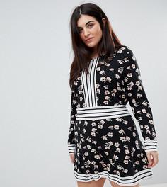Короткое приталенное платье с цветочным принтом и контрастной отделкой полосками Yumi Plus - Черный