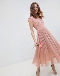 Платье миди с вышивкой ASOS DESIGN - Мульти