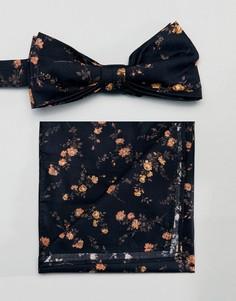 Галстук-бабочка и платок для нагрудного кармана с принтом Gianni Feraud - Черный