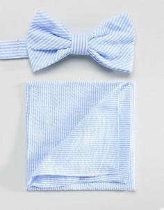 Галстук-бабочка и платок для нагрудного кармана из легкой жатой ткани Gianni Feraud - Синий