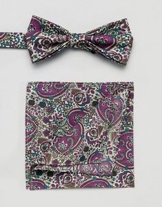 Галстук-бабочка и платок для нагрудного кармана с принтом Gianni Feraud - Розовый