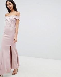 Платье макси с пайетками и кружевом Lipsy - Розовый