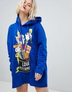 Платье с капюшоном Love Moschino - Синий