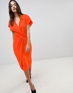 Платье миди с перекрученной отделкой ASOS DESIGN - Красный