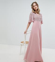 Платье макси с пайетками на лифе и расклешенными рукавами Maya Petite - Розовый