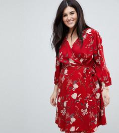 Платье с запахом и цветочным принтом Yumi Plus - Красный