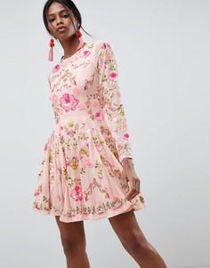 Короткое приталенное платье с цветочной вышивкой ASOS EDITION - Розовый