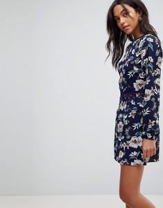 Платье с цветочным принтом Ax Paris - Темно-синий