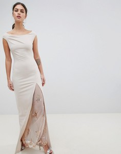 Платье макси с открытыми плечами и разрезом City Goddess - Розовый