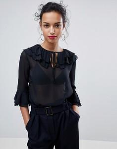 Блузка с оборками Y.A.S Arden - Черный