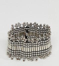 Эластичный браслет с состаренными бусинами эксклюзивно для ASOS DESIGN Curve - Серебряный