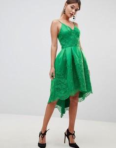 Платье на бретельках с кружевом Chi Chi London - Зеленый