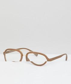 Золотистые очки-авиаторы с прозрачными стеклами AJ Morgan - Золотой