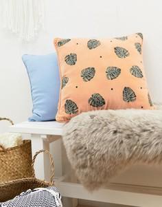 Бархатная подушка с вышивкой 40 см x 40 см Elizabeth Scarlett - Мульти