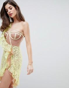 Кружевное платье миди For Love and Lemons Tati - Желтый