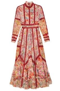 Платье-макси из разноцветного вышитого хлопка Valentino