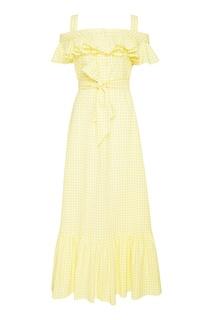 Желтое хлопковое платье с поясом ЛИ ЛУ