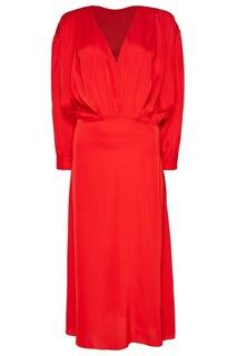 Красное платье с драпировками ЛИ ЛУ