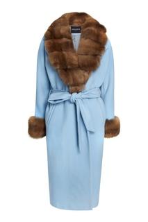 Голубое кашемировое пальто с мехом куницы Dreamfur