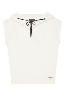 Белое худи oversize с короткими рукавами Zasport