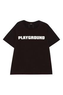 Черная футболка с белой надписью No21