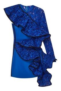 Синее платье-мини с асимметричным воланом David Koma