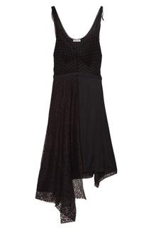 Черное асимметричное платье с кружевом Balenciaga