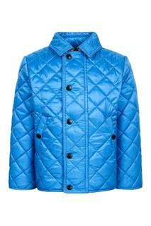 Голубая стеганая куртка Burberry Children