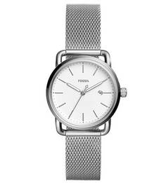 Кварцевые часы с серебристым металлическим ремешком Fossil