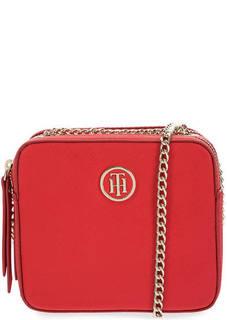 Красная сумка через плечо с двумя отделами Tommy Hilfiger